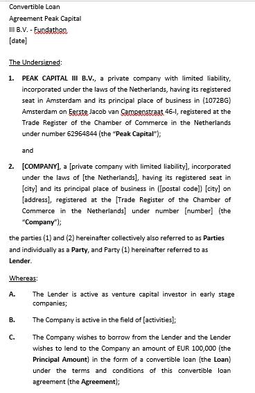 Convertible Agreement Template