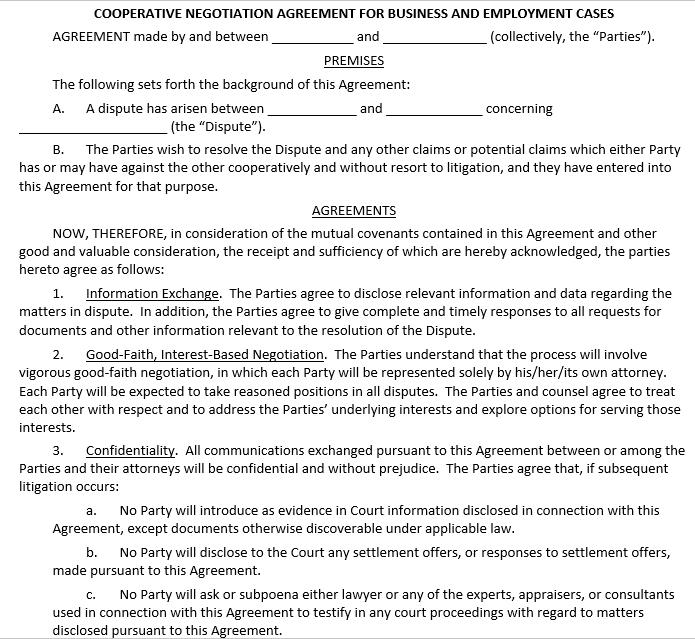 Cooperative Confidentiality Negotiation Agreement