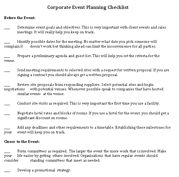 Corporate Event Planning Checklist Template in Word