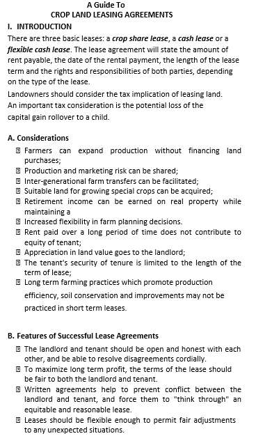 Crop Land Basic Rental Agreement