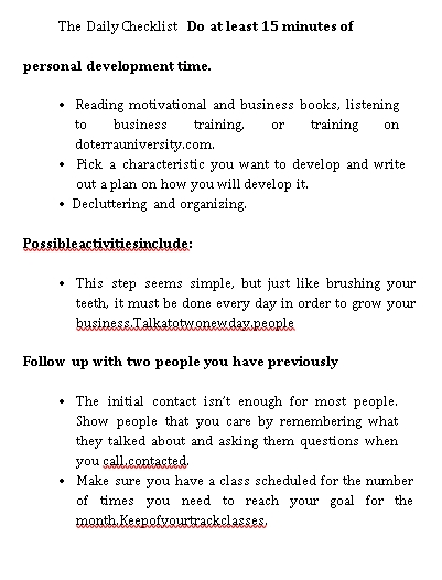 Daily Business Checklist