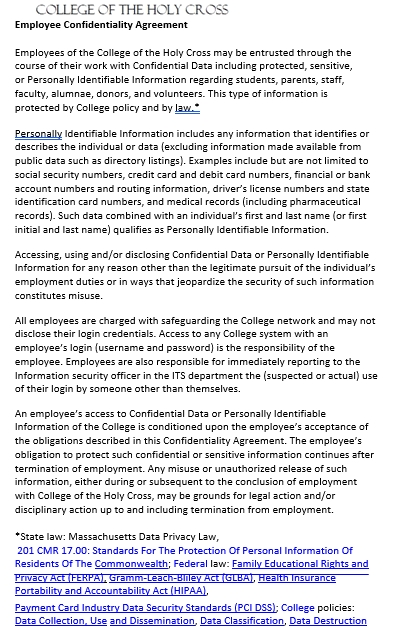 Data Confidentiality Agreement for Employee