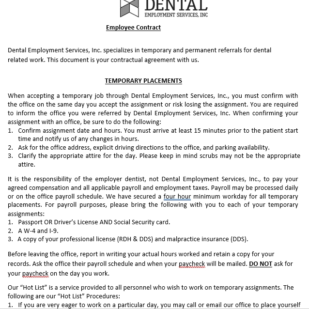 Dental Employee Contract Agreement