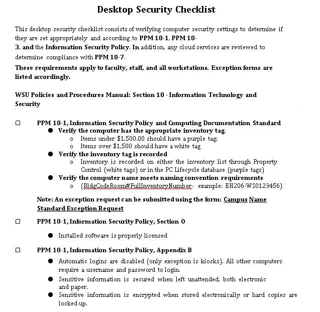 Desktop Security Checklist Template