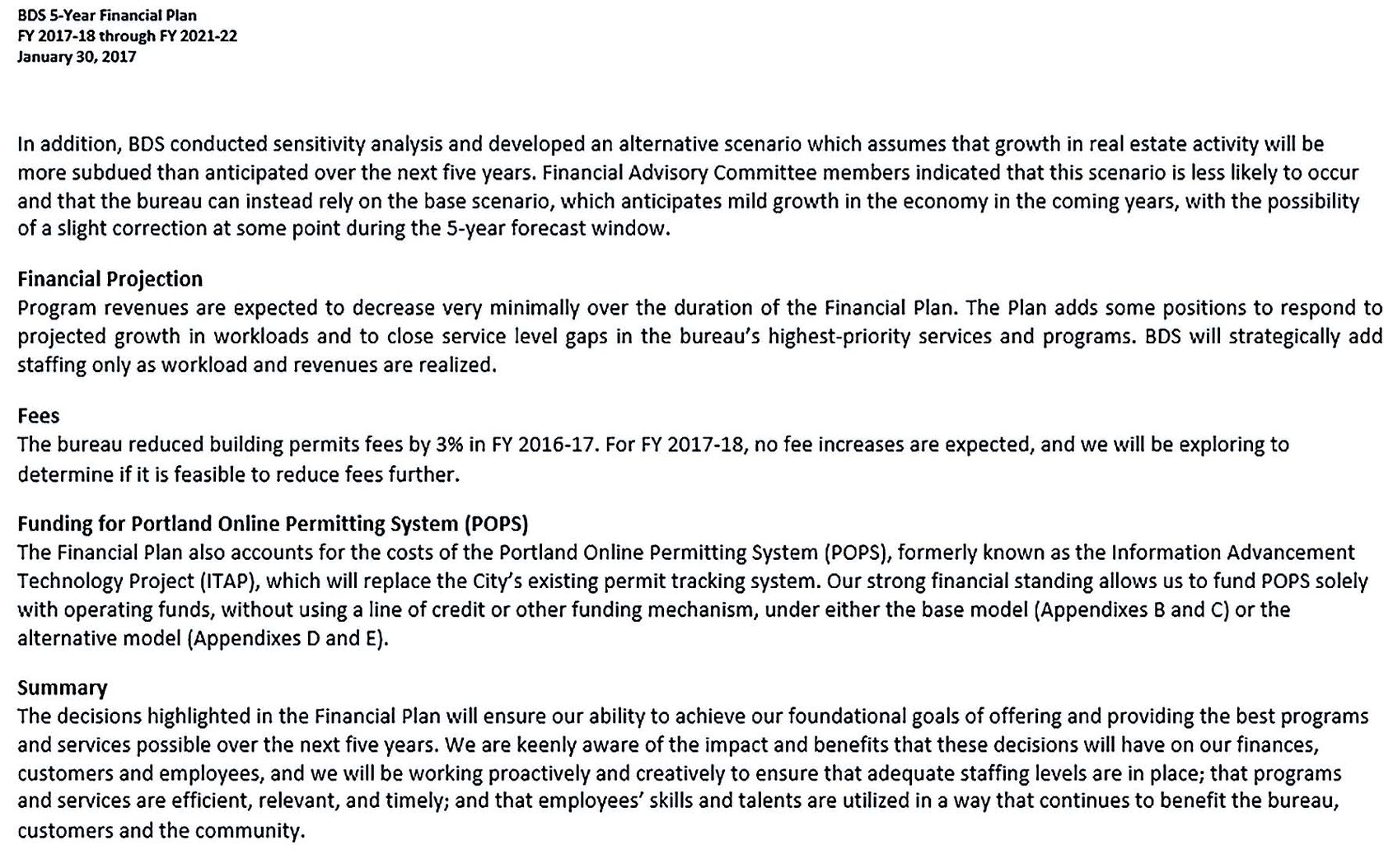 Development Services Five Year Financial Plan