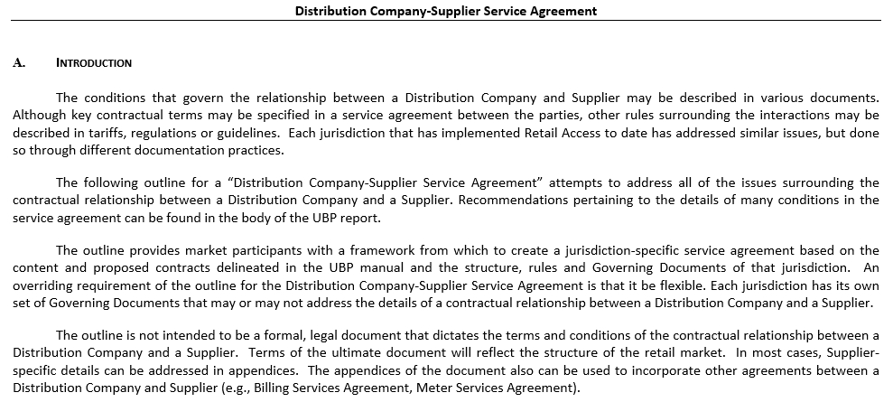 Distribution Company Supplier Service Agreement