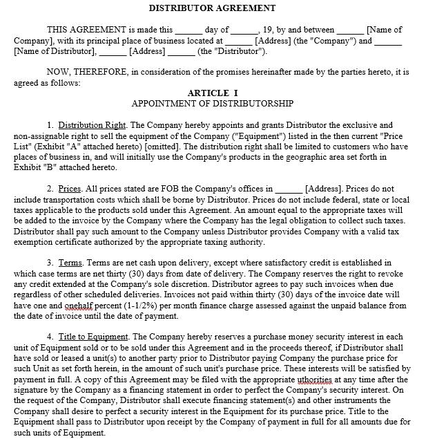 Distributorship agreement Template