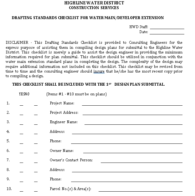 Drafting Standards Checklist