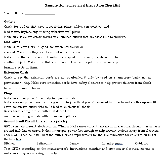 Electrical House Inspection Checklist