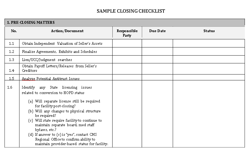 Elegant Closing Checklist Template