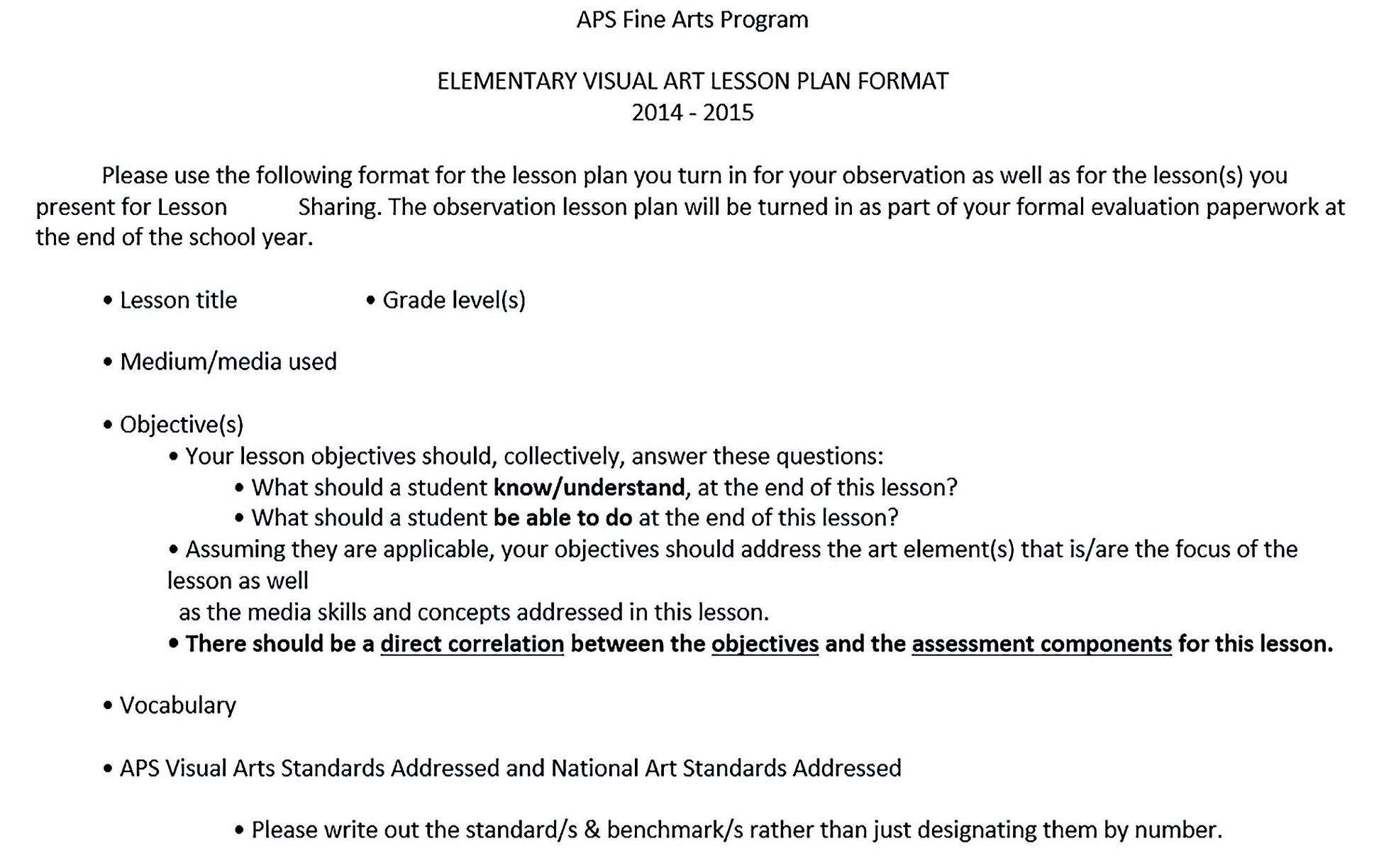 Elementary Visual Art Lesson Plan Free Word Download