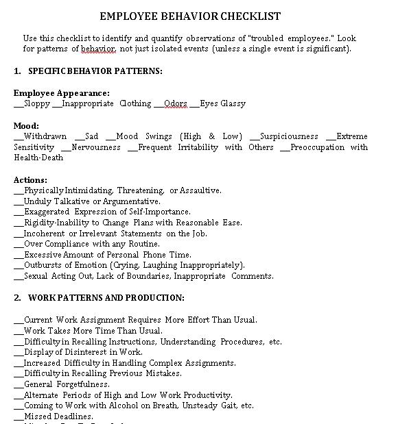 Employee Behavior Checklist