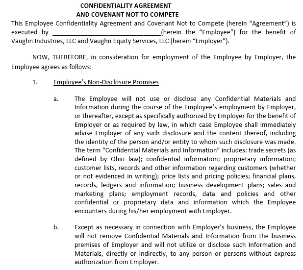 Employee Confidentiality Agreement Example