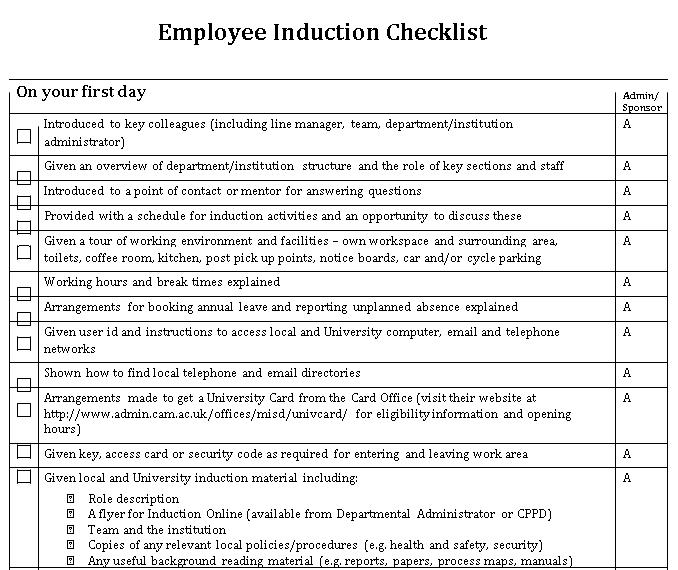 Employee Induction Checklist