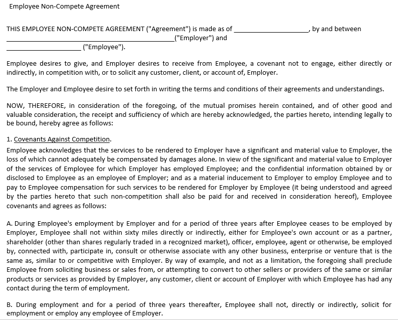 Employee Non Compete Agreement Form