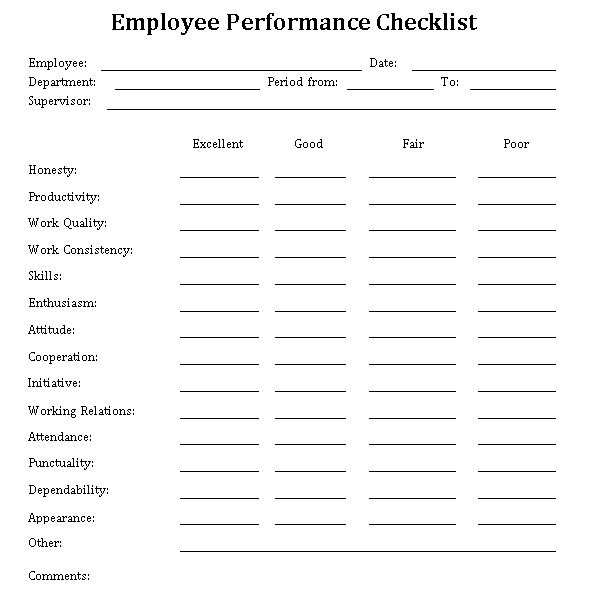Employee Performance Checklist