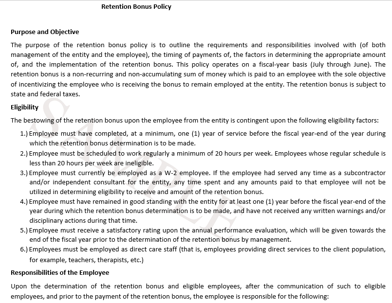 Employee Retention Agreement Template 3