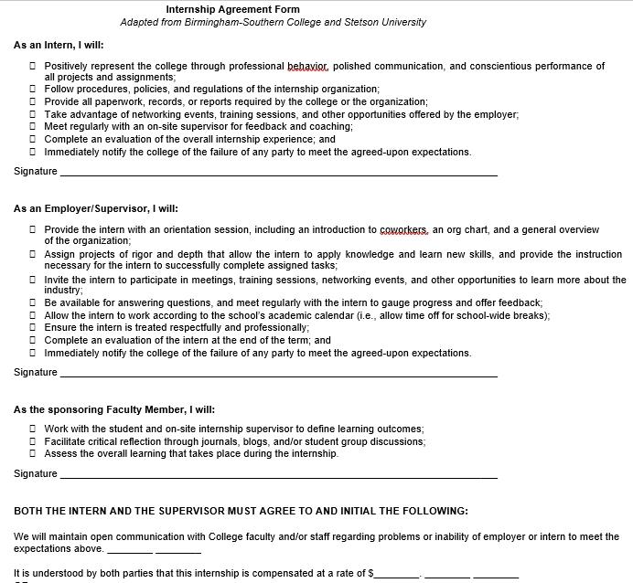 Employer Internship Agreement Form Template