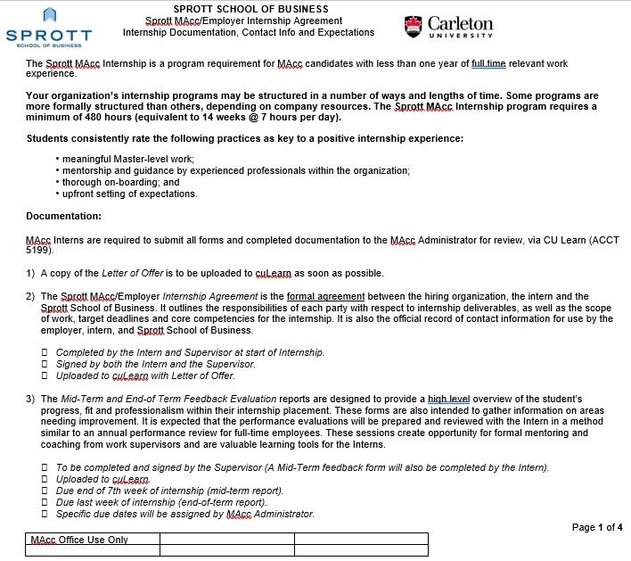 Employer Internship Agreement in PDF