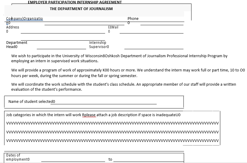 Employer Participation Internship Agreement Format