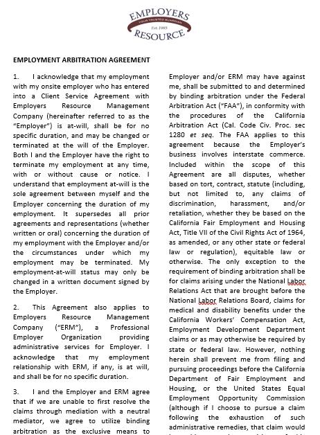 Employment Arbitration Agreement Template
