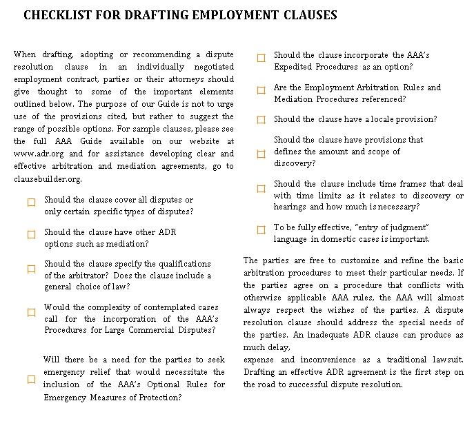 Employment Drafting Checklist