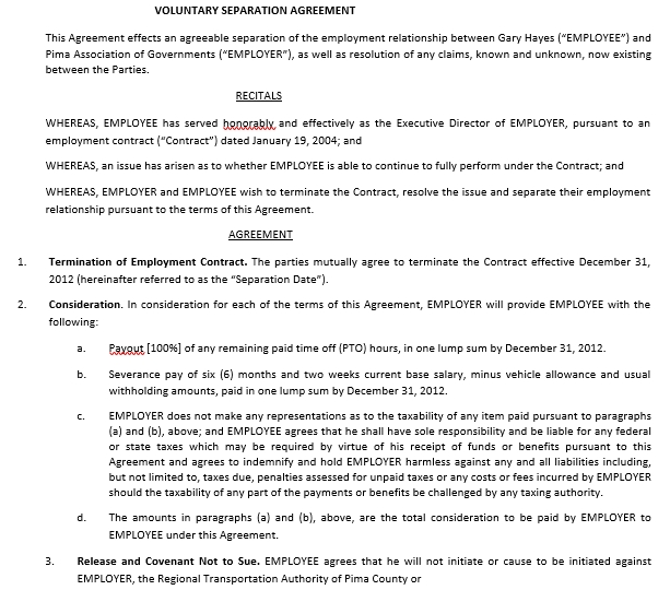 Employment Mutual Separation Agreement Template