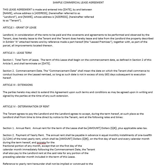 Enterprise Commercial Rental Agreement