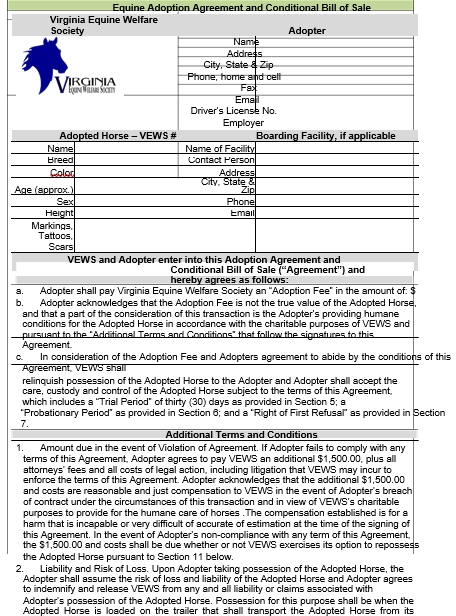 Equine Adoption Agreement and Conditional Bill of Sale