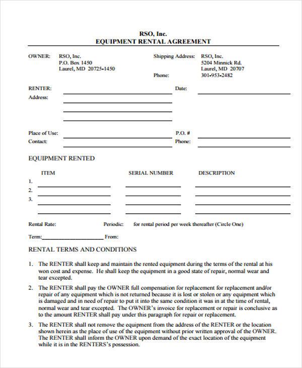 Equipment Agreement1