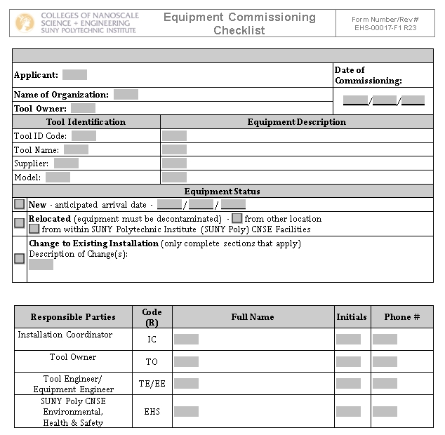 Equipment Commissioning Checklist Template