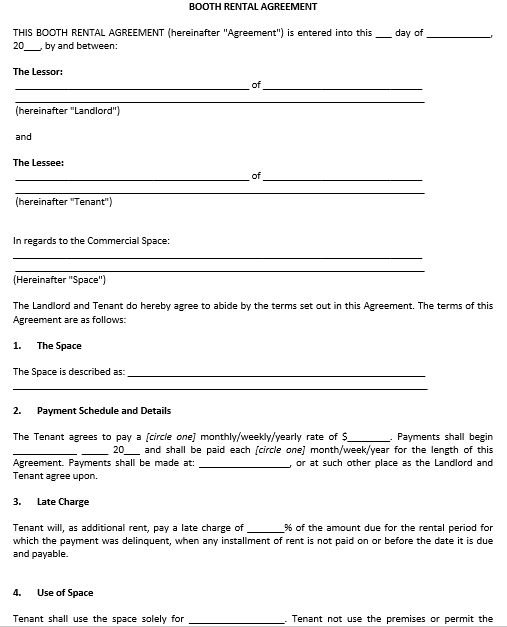 Event Booth Rental Agreement Template