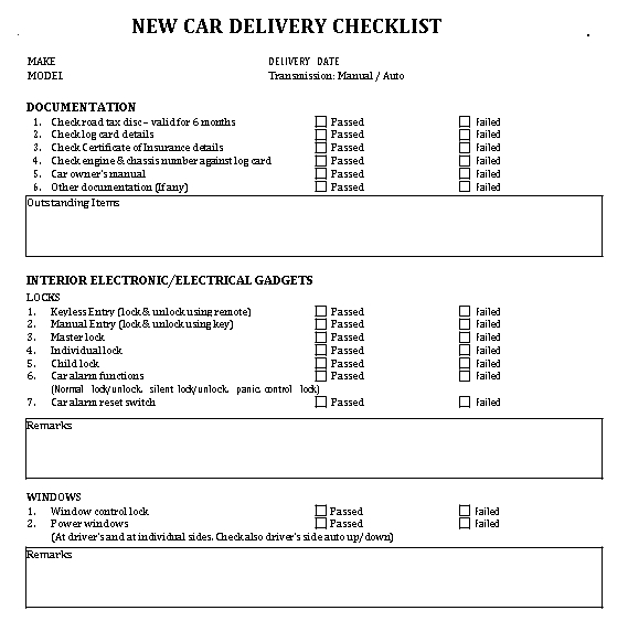 Example Delivery Checklist Template
