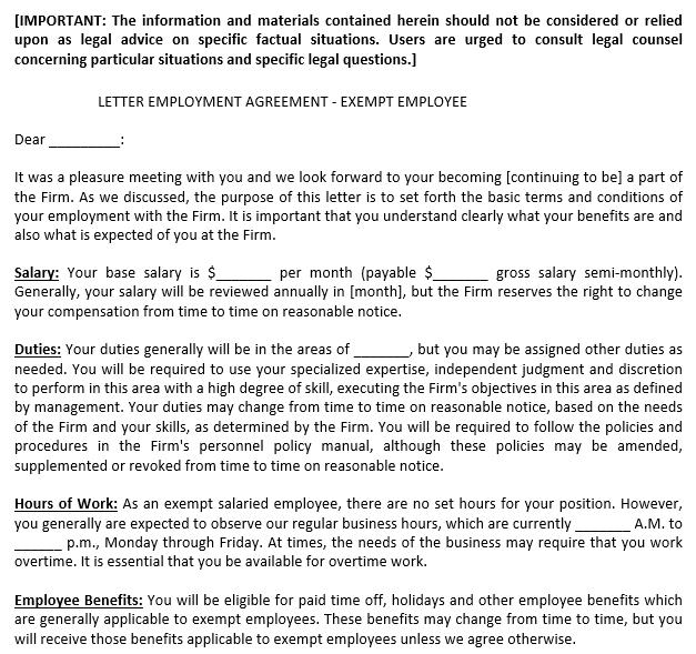 Exempt Employee Employement Agreement Letter