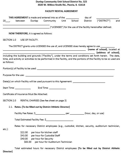 Facility Blank Rental Agreement