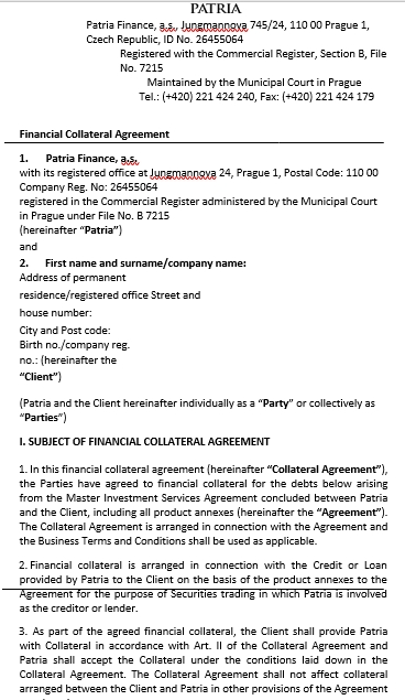 Financial Collateral Agreement