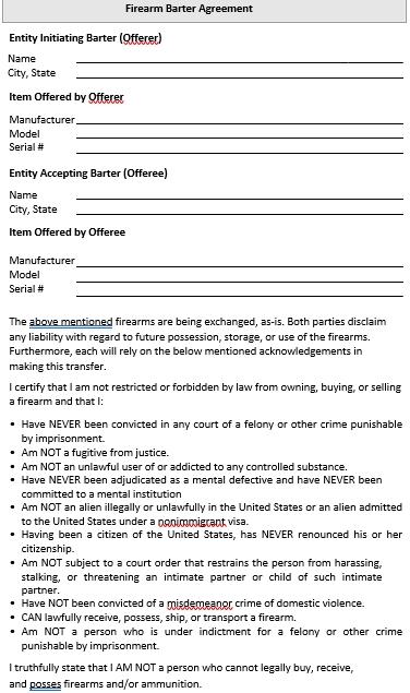 Firearm Barter Agreement