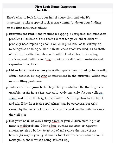 First Look Home Inspection Checklist