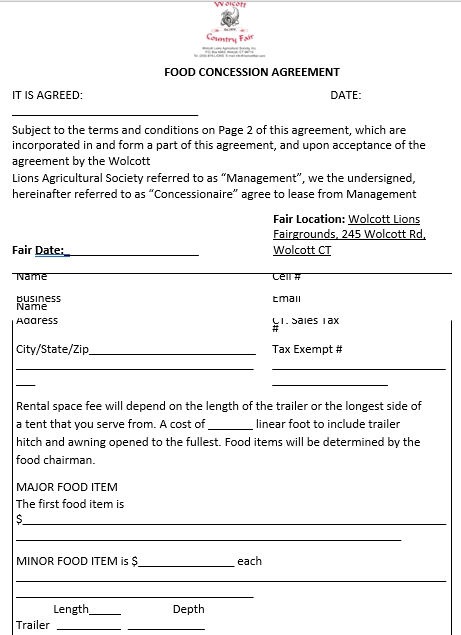 Food Concession Agreement