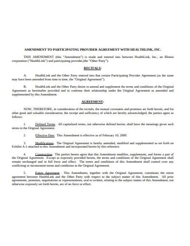 Formal Amendment Agreement Template