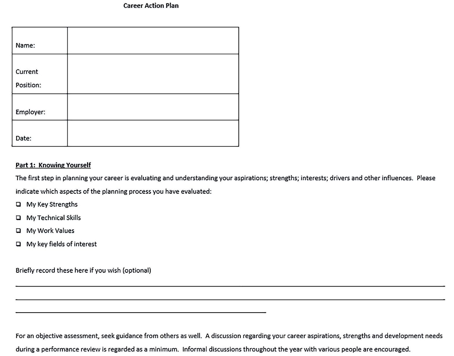 Free Career Action Plan Template Word Format