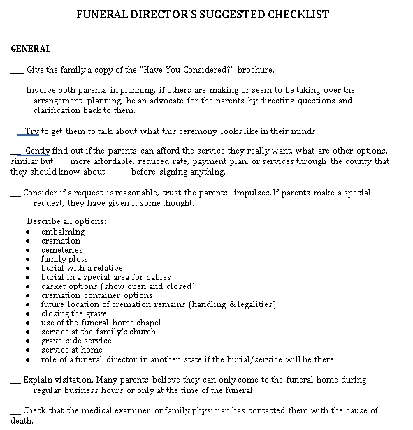 Funeral Checklist in PDF