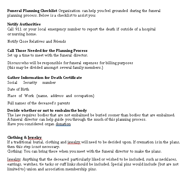 Funeral Planning Checklist Template