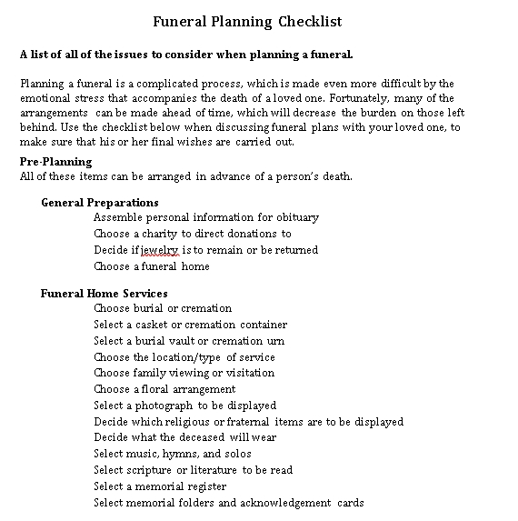 Funeral Planning Checklist in PDF