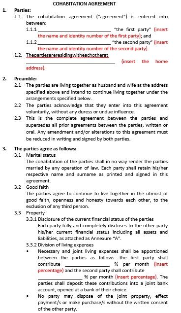 General Cohabitation Agreement Template