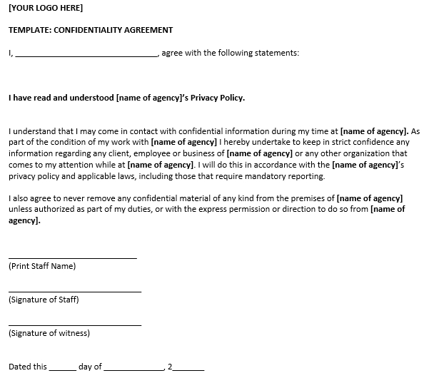 General Confidentiality Agreement Form