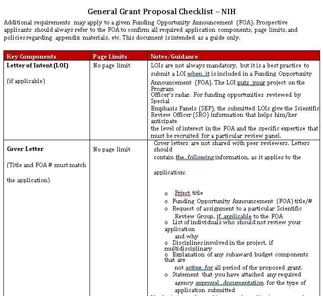 General Grant Proposal Checklist Template