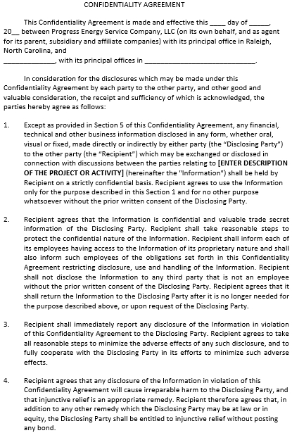 Generic Confidentiality Agreement Form