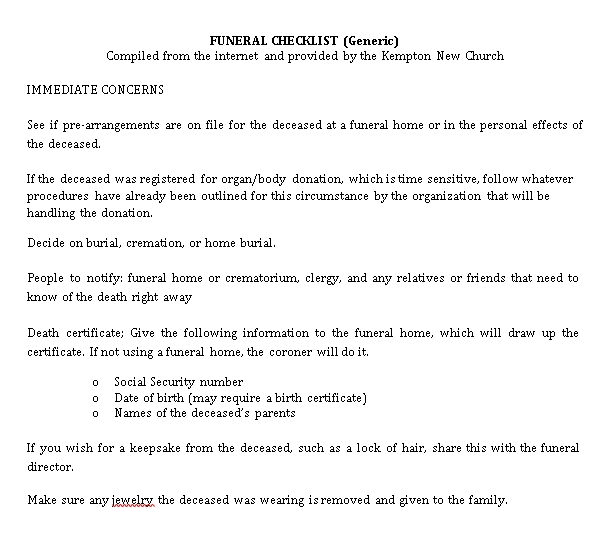 Generic Funeral Checklist Template