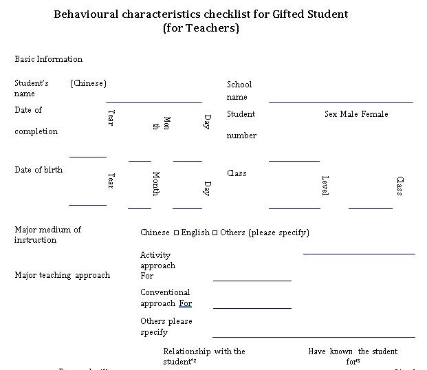 Gifted Child Behavior Checklist